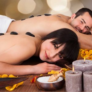 Hot stone massage for couples